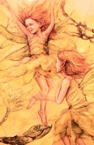 Two flame-haired fairies dancing in the sunshine