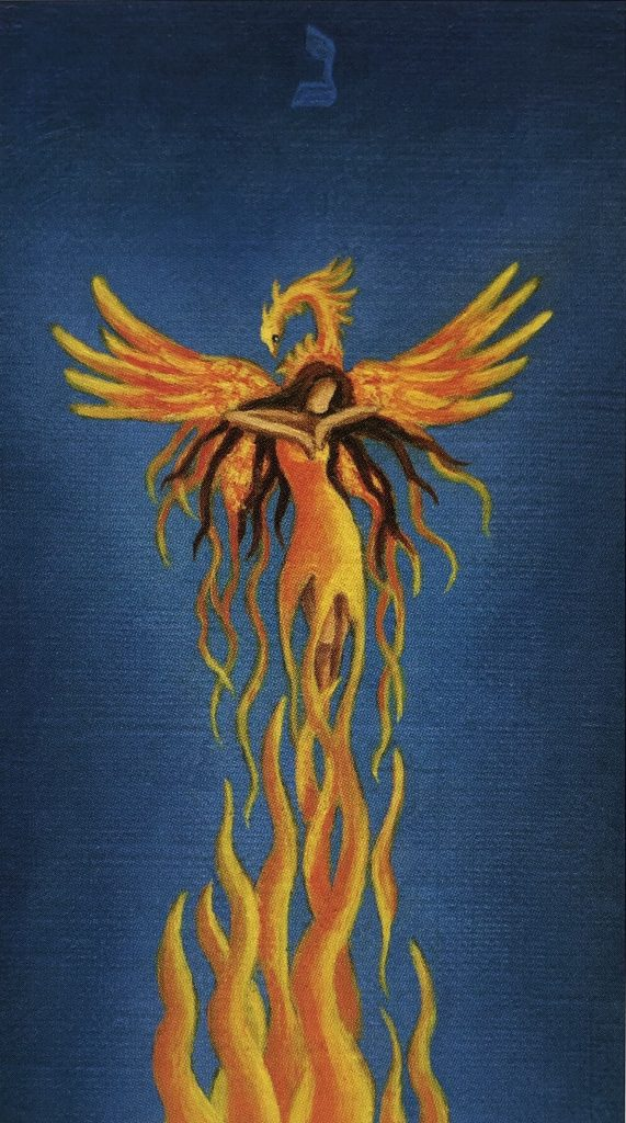 image: death card - a woman-shaped pheonix with flaming wings