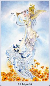 An angel blows a trumpet as people-shaped spirits rise into the air to join her.